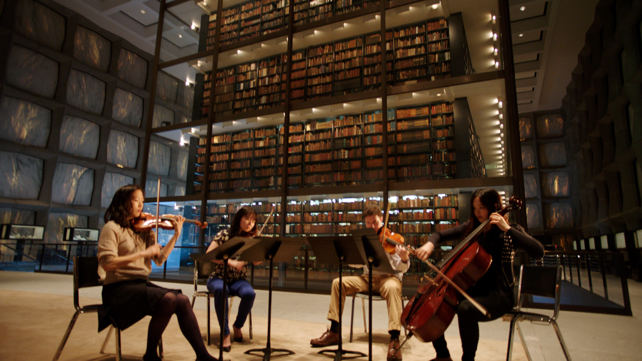Students playing in the Beinecke