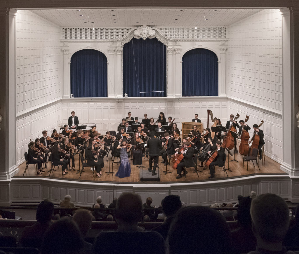 Student conducting the Yale Philharmonia in Morse Recital Hall