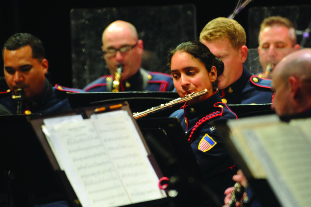 Meera Gudipati performs with the U.S. Coast Guard Band