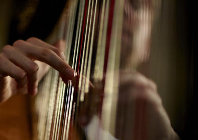 A close-up of a student playing harp