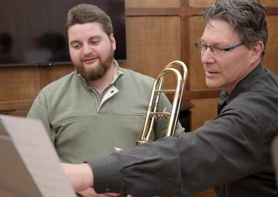 Trombone teacher and student