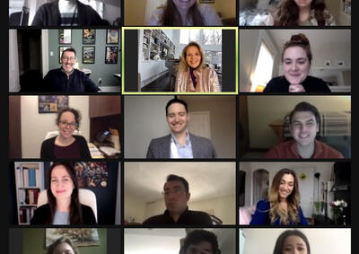 Screenshot of opera students on zoom