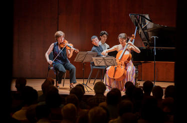 Players from the Brentano Quartet performing at Norfolk